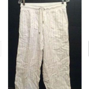 Athleta Pants 6 White Tan Striped Elastic Waist